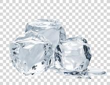 Melting Ice Cubes On Isolated ...