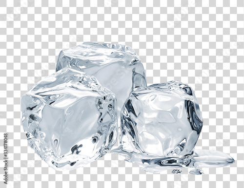 Melting ice cubes on isolated background including clipping path. Canvas Print