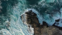 Top Aerial Drone View Of Waves...