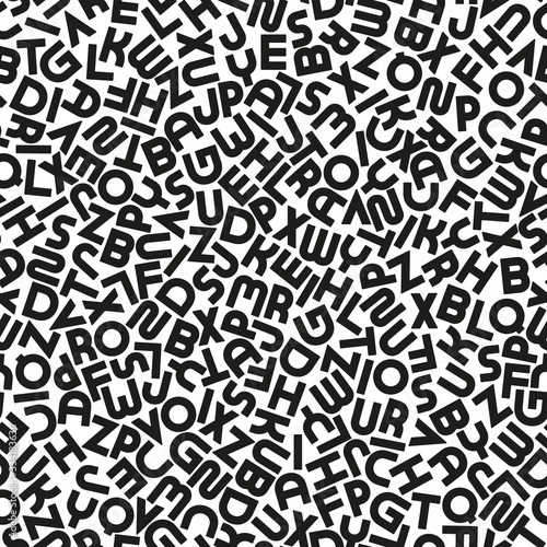 Tapeta czarno biała  vector-seamless-alphabet-pattern-with-black-bold-latin-letters-white-repeatable-unusual-background-fashion-trendy-design