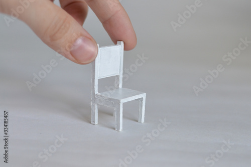 Miniature furniture made of cardboard, painted white Wallpaper Mural