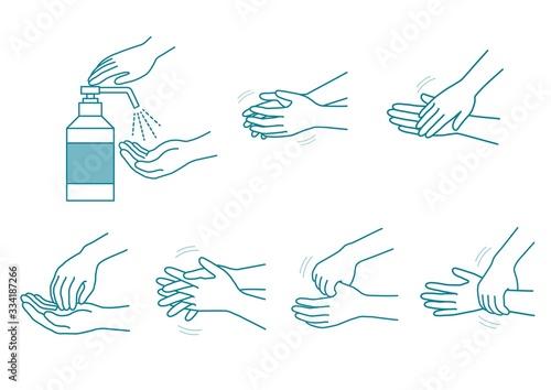 Cuadros en Lienzo 手指消毒手順イラストセット03
