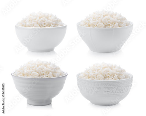 Tela rice in white bowl on white background