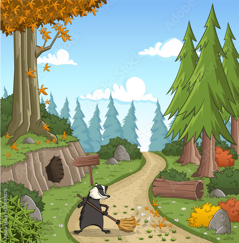 Photo Cartoon badger cleaning the entrance of his house on green forest