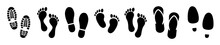 Different Human Footprints Icon. Vector