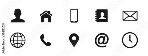 Photo Contact icons set, vector illustration