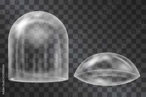 Obraz na plátně Glowing glass dome cases, semi spherical and capsule shapes isolated on transparent background