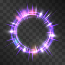 Vector Neon Purple Light Effect Circle Frame With Hazy Cog Flares. Magical Glowing Cloud Of Shining Sundogs. Glistening Energy Rings In Motion. Luxurious Miraculous Portal, Fairy Tale, Sci Fi Theme.