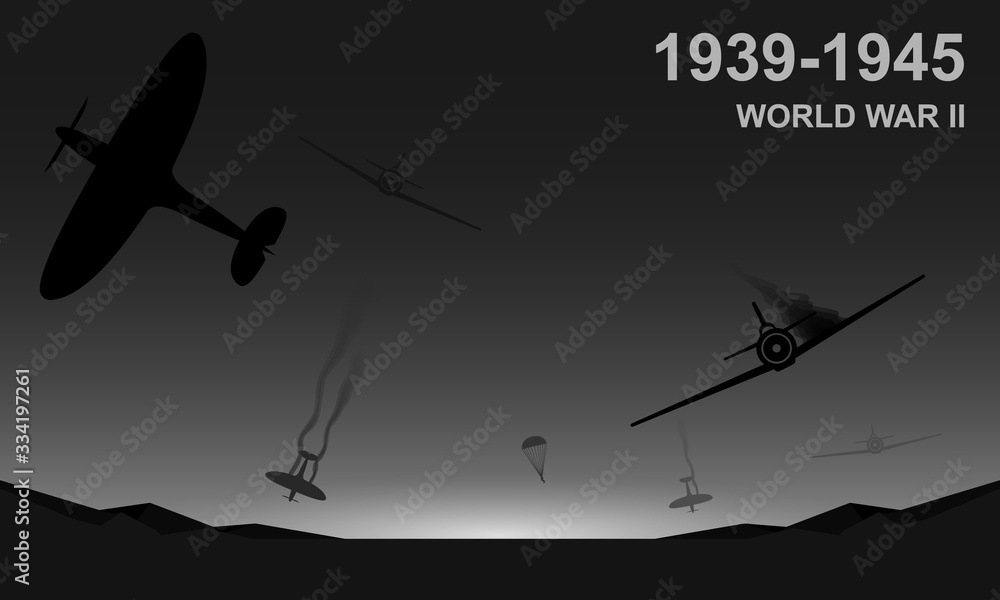 Fototapeta World War II 1939-1945 black and white vector illustration. Air force aircraft chase.