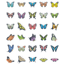 Butterfly Flat Vector Icons Set
