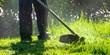 Leinwandbild Motiv lawn care maintenance. professional grass cutting in the yard