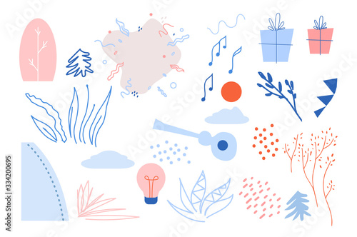 Foto Vector flat elements creation kit of different object on white background for cr