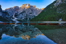 Chapel By Lake Braies, South Tyrol, Italy
