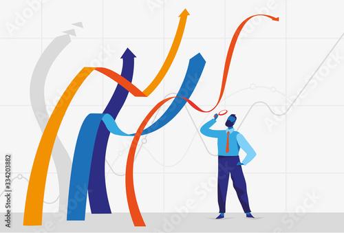 Uomo d'affari esamina con la lente di ingrandimento le linee e frecce crescenti Wallpaper Mural