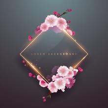 Pink Soft Floral Frame With Gold Light Border
