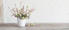 Spring Flowers In White Bucket...