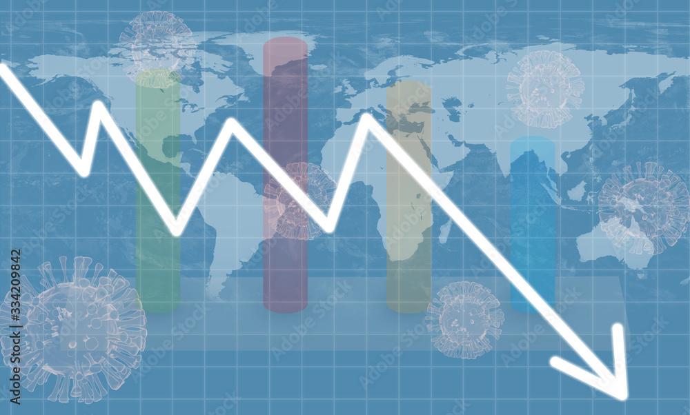 Fototapeta Graphs representing the global or world stock market crash or economic recession due to Coronavirus or covid 19 outbreak.
