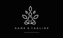 A Line Art Icon Logo Of A Yoga...