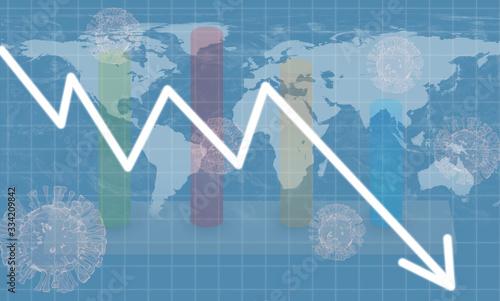 Fototapeta Graphs representing the global or world stock market crash or economic recession due to Coronavirus or covid 19 outbreak. obraz