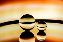 Abstract Image Of Glass Spheres Under Neon Lights