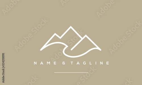 Obraz A line art icon logo of a minimal mountain, peak, summit - fototapety do salonu