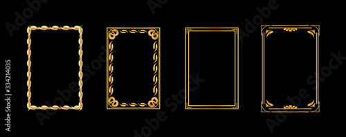 Set of decorative vintage frames and borders set, gold photo frame with Thailand floral corner line for picture Wallpaper Mural