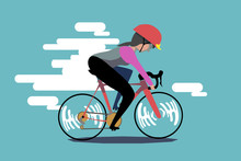 A Woman Is Riding A Road Bike....