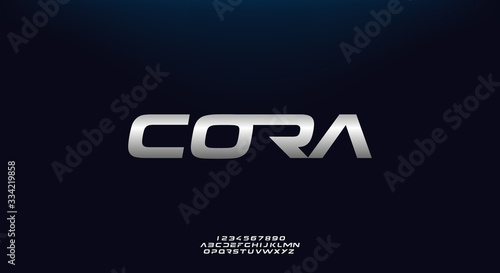 Cora, a bold modern sporty typography alphabet font Tablou Canvas