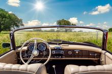 Vintage Car Interior Stopped In Spring