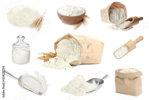 Fototapeta Set of organic flour on white background obraz