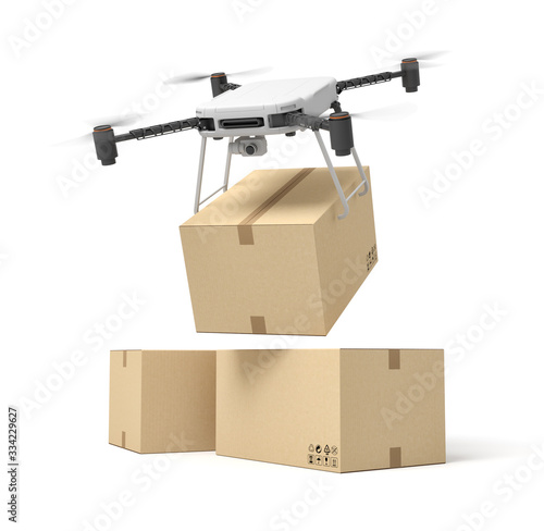 Papel de parede 3d rendering of camera drone delivering cardboard box on top of two other boxes isolated on white background