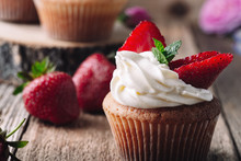 Homemade Cupcakes With Strawbe...