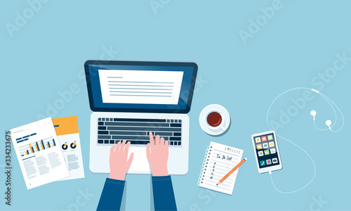 Fotografía flat vector work from home workplace concept and business smart working online c