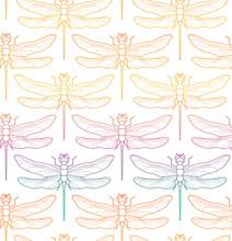 Dragonfly Pattern Seamless Vec...
