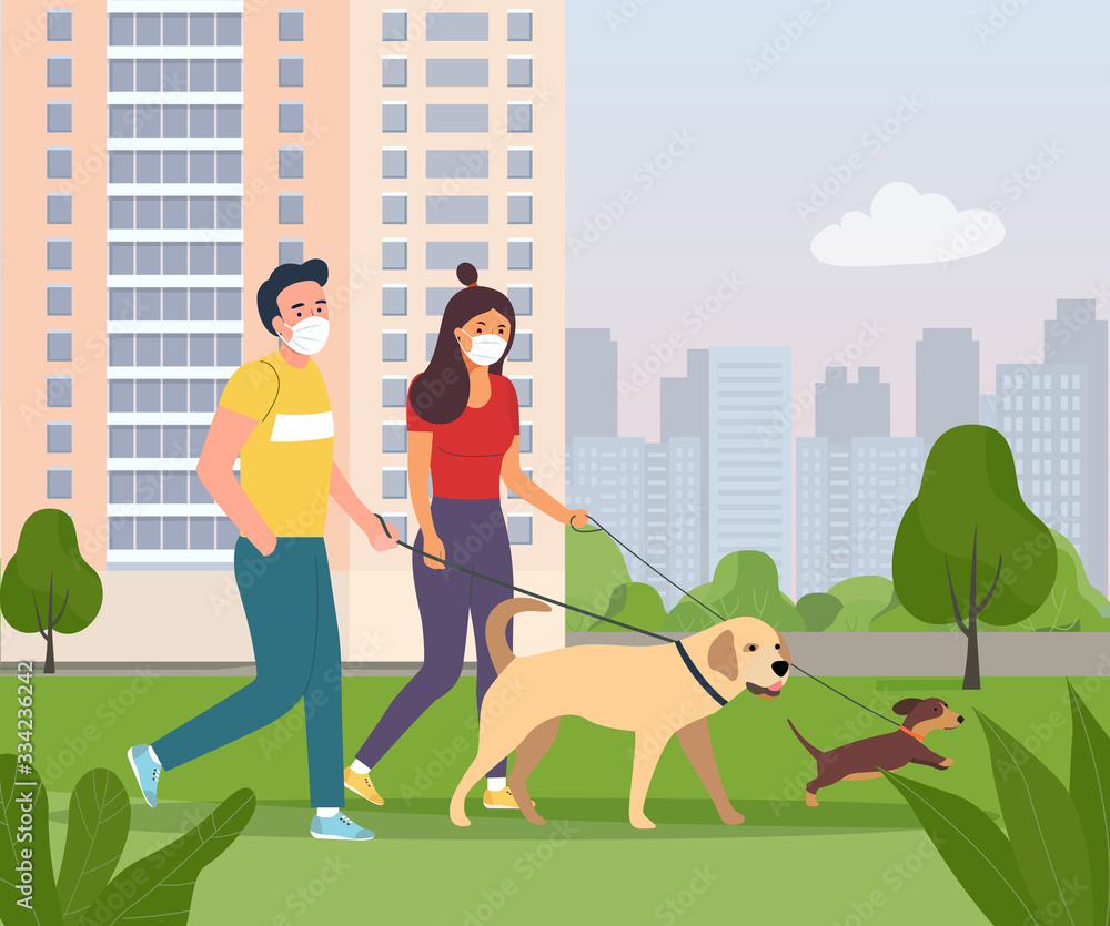 Fototapeta Woman and man wearing face masks walking with a dogs in the city park. Vector flat style illustration