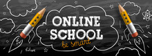 Online School. Digital Internet Tutorials And Courses, Online Education, E-learning. Web Banner Template For Website And Mobile App Development. Doodle Style Vector Illustration.