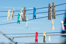 Lines With Colorful Clothes Pe...