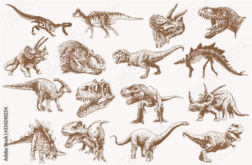 Fotografie, Obraz Graphical set of dinosaurs, sepia vector illustration