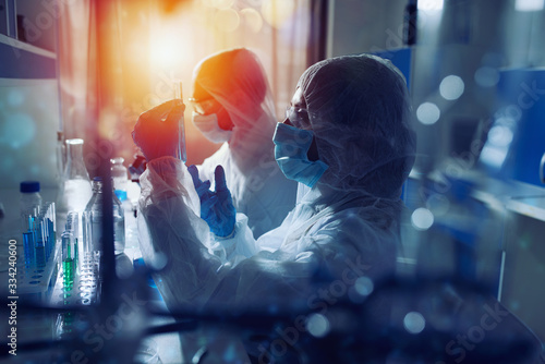 Medical science laboratory. Concept of virus and bacteria research