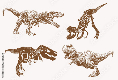 Obraz na plátně Graphical set of dinosaurs, sepia vector illustration