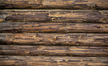 Wooden Background. Old Wooden Wall Of A Rustic House With Texture