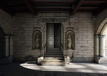 Monumental Entrance With Ancient Wooden Gothic Doorway With Sculptures, 3d Rendering, 3d Illustration
