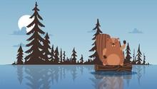 Beaver Sit On Stump, Waving Pa...