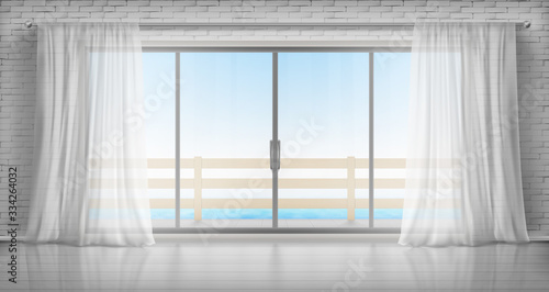 Fototapeta drzwi   glass-windows-with-white-silk-curtains-brick-walls-and-overlooking-to-sea-vector-realistic
