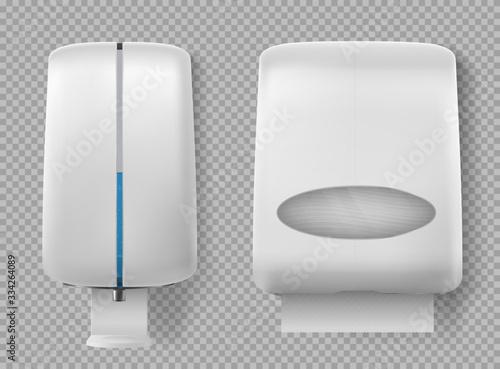 Obraz na plátně Wall dispenser for antibacterial soap, liquid coronavirus antiseptic and paper