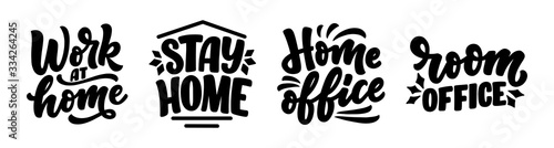 Vászonkép Set with lettering slogans about stay home, typography posters with text for self quarine time
