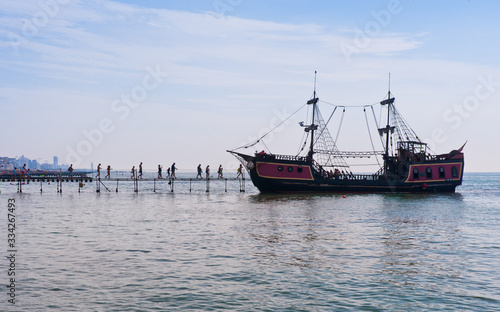 A fake pirate ship awaits its load of tourists to take them on a visit to the coast of the city of Jesolo, a seaside resort in the Veneto region, north east of Italy Canvas Print