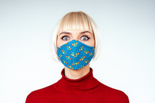 Shocked, Surprised Woman Wearing Handmade Face Mask. Copy, Empty Space For Text