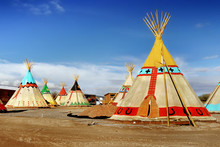 Indian Tepee Tents In Desert L...