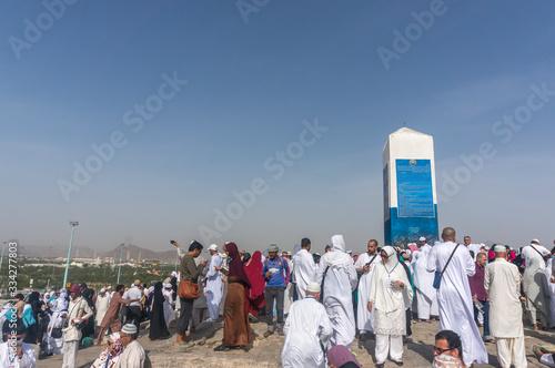 MECCA, SAUDI ARABIA - MAR 11: Muslims at Mount Arafat (or Jabal Rahmah) March 11, 2015 in Arafat, Saudi Arabia Canvas Print
